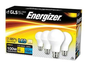 LED BC (B22) Opal GLS Non-Dimmable Bulb, Warm White 1521 lm 12.5W (Pack 4)